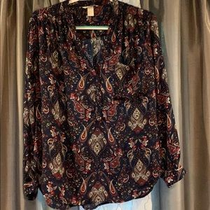 Blue, white, cranberry color blouse